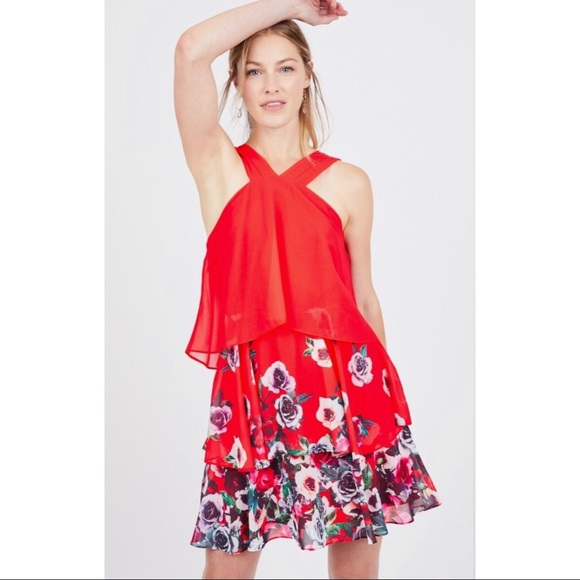 Badgley Mischka Dresses & Skirts - Badgley Mischka Popover Floral Ruffle Dress